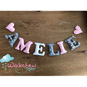 """Namensgirlande""""Punkte und Herzen"""", Namenskette aus Filz, Handmade Türschild, Dekoration Babyzimmer, Geschenk Zur Geburt Mädchen, Junge"""
