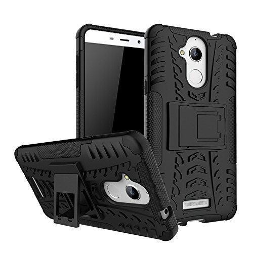Kaira Hard Armor Hybrid Rubber Bumper Flip Stand Rugged Back Case Cover for Coolpad Note 5 – Black