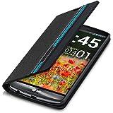 kwmobile Funda tipo flip para LG G3 con Diseño rayas discontinuas - funda de polipiel para smartphone funda protectora en negro azul