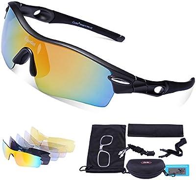 Gafas de Sol Deportivas Polarizadas,Carfia TR90 UV400 Unisex Gafas de Sol para Deporte y Aire Libre Ciclismo Conducción Pesca Esquiar Golf Correr
