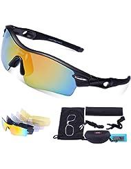 Gafas de Sol Deportivas Polarizadas,Carfia TR90 UV400 Unisex Gafas de Sol Deportivas Polarizadas a prueba de Viento 5 Lentes de Cambios Incluido para Deporte y Aire Libre Ciclismo Conducción Pesca Esquiar Golf Correr B