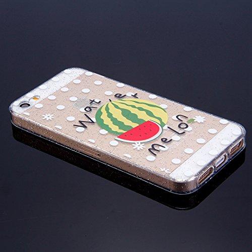 Custodia iPhone 5S, Case Cover iPhone SE in Silicone Glitter TPU, Surakey Bumper iPhone 5 5S SE Cover Morbida Gomma Premium Semi Hybrid Crystal Clear Cassa del Telefono con Disegno Cartoon Divertente  Anguria