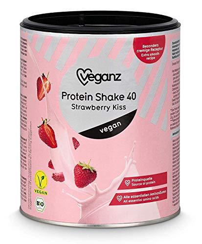 Veganz BIO Vegan Protein Shake Strawberry Kiss - Veganes Proteinpulver ohne Soja mit 45% pflanzlichem Eiweiss - 1 x 300g Eiweisspulver Erdbeere -