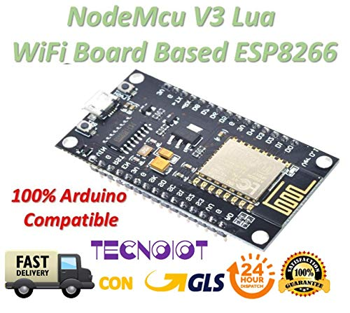 TECNOIOT NodeMcu V3 Lua WeMos WiFi Wireless Module CH340 Development Board ESP8266 ESP12E | ESP8266 Puerto Serie del Módulo WiFi NodeMcu Lua WiFi V3 Placa de Desarrollo de Internet CH-340
