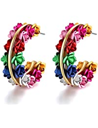 Jewels Galaxy Exclusive Luxuria Attractive Colors Floral Design Magnificent Pair Of Clip-On Earrings For Women...
