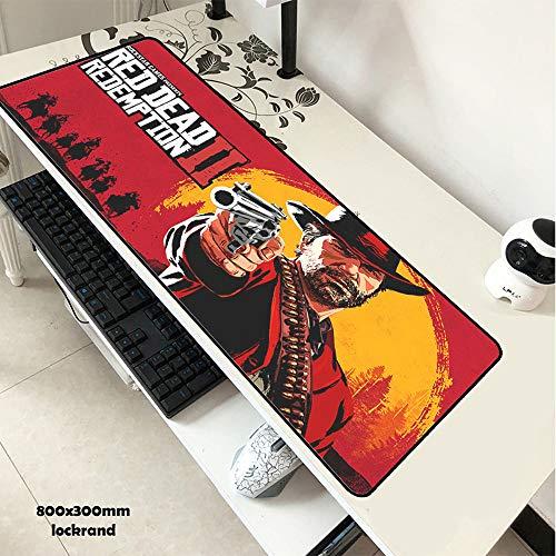 Preisvergleich Produktbild LJA Red Dead Redemption 2 Mauspad 80x30cm Pad zur Maus Günstigste Computer-Mousepad-Gaming-Mousepad-Gamer-Laptop HD-Druck-Mauspad