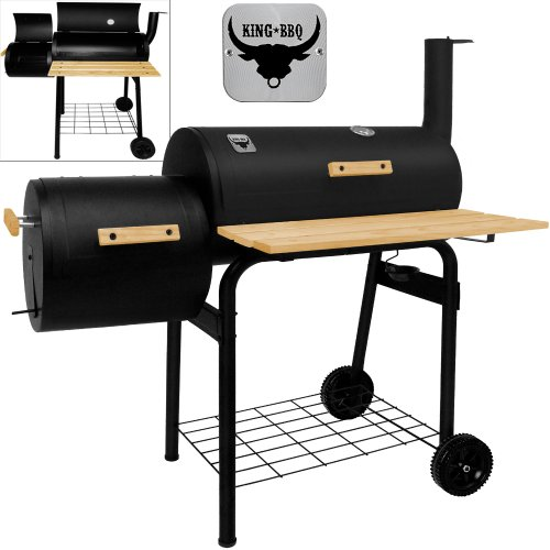 51vtkfNH4qL. SS500  - King BBQ Smoker Charcoal Barbecue Barrel Grill Outdoor Heat Indicator Portable Garden Patio Heating Black Party Cooking