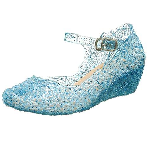 Kleid Cinderella Kleinkind (Prinzessin Elsa Cinderella Absatz-Schuhe Blau Kinder Glanz Weihnachten Verkleidung Karneval Party Halloween)