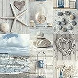 Arthouse Papier peint rustique maritime Plage nautique de salle de bain Galets cœurs Bleu gris