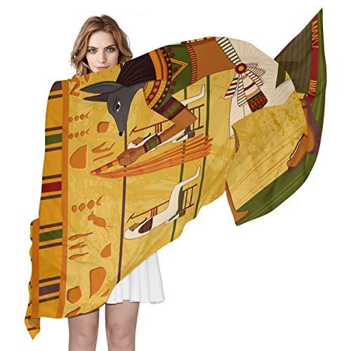 QMIN Seidenschal, Vintage, antikes ägyptisches Muster, modisch, lang, leicht, Schal, ordentliche Wickelschals, Schalldämpfer für Frauen und Mädchen -