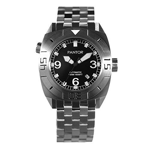 Dive Armbanduhr Pantor Seal 500 m Pro Automatik Taucher Uhr mit he-valve Saphir Glas & Armband Taucheruhr Pro Taucheruhr