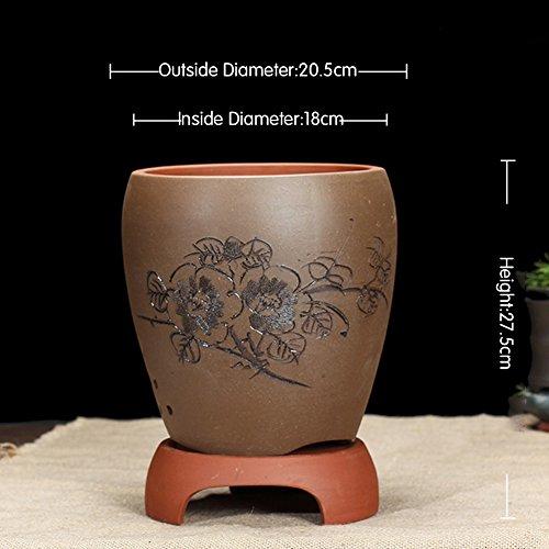 Nclon Boutique Yixing Argile pourpre Pot de fleur,Les orchidées Bassin Clivia Plantes en pots Bonsaï [style chinois] Indoor Tray Durable-b- les petites