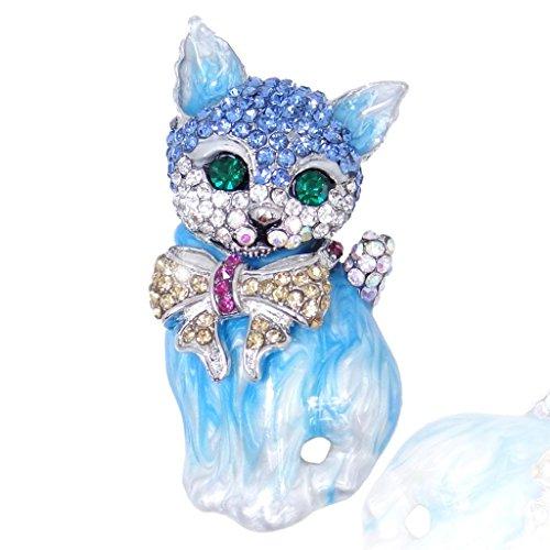 EVER FAITH® Austrian Crystal 3D Lovly Cat Bow Brooch Pin - Blue-Silver-Tone N03051-5