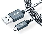 #5: Mivi 6ft long Nylon Tough Micro USB Cable with charging speeds up to 2.4Amps (Black)
