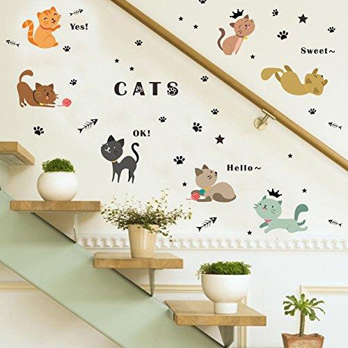Rainbow Fox bebé animal pegatinas de pared linda Gatos pegatinas de pared Vinilo desmontable para vivero Calcomanías