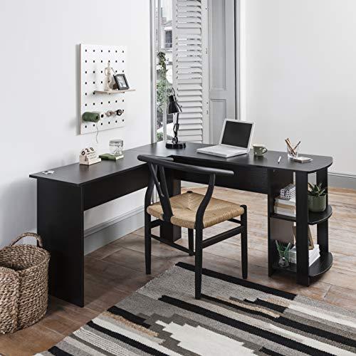 Bureau d'ordinateur en forme de L - Table de PC pour grande salle avec 2 étagères pour la maison et le bureau