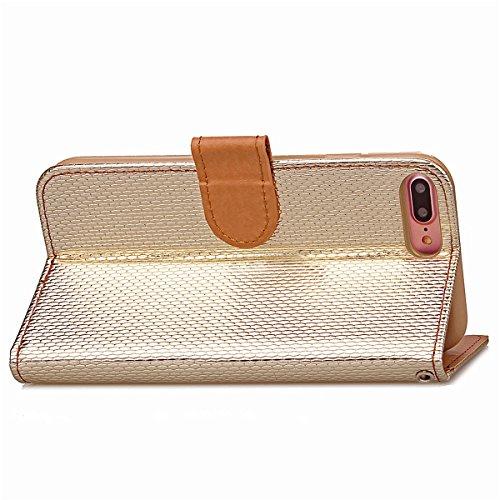 """[iPhone 7 Plus 5.5"""" pouce] Glossy Brillant Coque en Cuir, iPhone 7 Plus Folio Flip Leather Wallet Coque Housse ,Etsue Bling élégance Bonbon Des Couleurs Mode étui Case Coque Portefeuille de Protection d'or"""