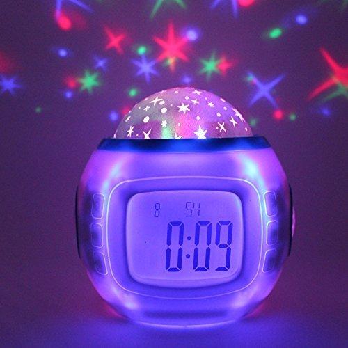 FACAIG Musik star Projektionsuhr Natural Sound elektronische Uhr Sieben farbige LED-Projektionsuhr