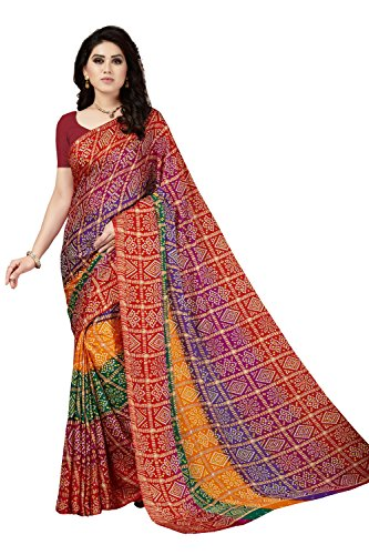 Rani Saahiba Crepe Saree with Blouse Piece (SKR3952_Multi color_One Size)