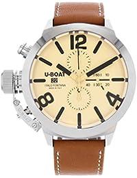 U-Boat Classico reloj automático, tungsteno, color beige, 50mm, cronógrafo, 7433/A