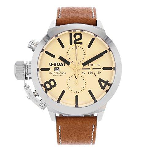 U-Boat Classico Automatik Uhr, Wolfram, Beige, 50mm, Chronograph, 7433/A