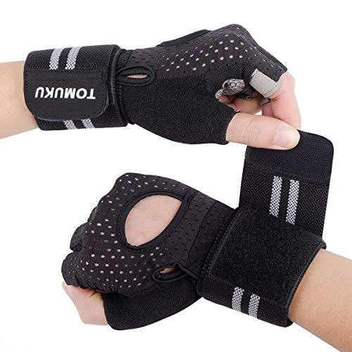 Guantes de gimnasio, guantes entrenamiento con soporte completo para la muñeca, protección de la palma...