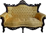 Casa Padrino Barock Wohnzimmer Set Master Gold Muster / Mahagoni Braun – 3er Sofa + 2er Sofa + 1 Sessel - 3