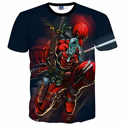 Men's 3D American Comic Deadpool Printed Tee Shirt 2