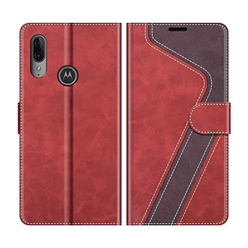 MOBESV Handyhülle für Motorola Moto E6 Plus Hülle Leder, Motorola Moto E6 Plus Klapphülle Handytasche Case für Motorola Moto E6 Plus Handy Hüllen, Modisch Rot