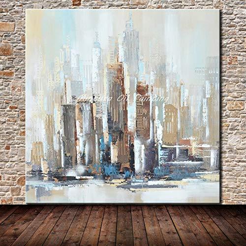 Ölgemälde Auf Leinwand Ölgemälde,Abstrakte Landschaft 100% Reines Öl Gemalt Weiße New York City-Stadtgebäude Großes Modernes Pop-Wandkunst-Handwerks-Bild Für Wohnzimmer-Dekoration 120×120Cm