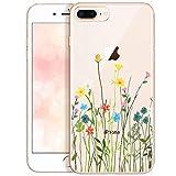 OOH!COLOR Bumper Compatible pour iPhone 7 Plus, Coque iPhone 8 Plus Silicone Fleur...