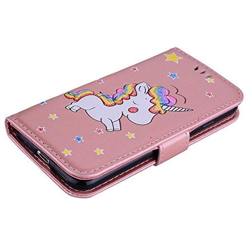 Custodia per iPhone 8 / iPhone 7, ESSTORE-EU Unicorn Design Premium Custodia in PU Pelle con Custodia Innominale Soft TPU, Unicorn Carino con Bling Bling Glitter Charming Scintillante Stella [Oro] Oro rosa