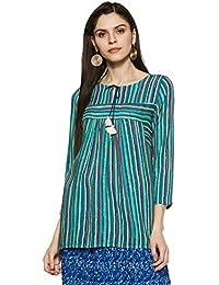 global desi Women's Striped Regular Fit Top (EC18G234TPRYBLUEXL_Blue_XL)