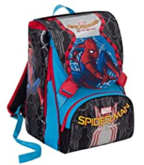 Idea Regalo - Zaino scuola ESTENSIBILE MARVEL - SPIDERMAN HOMECOMING - Nero Blu Rosso 31Lt