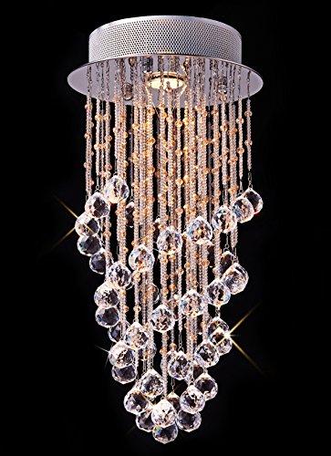 Rotem Stoff Mini Kronleuchter (Saint Mossi® Luxus modernes Chic transparent Kristall Klar Regen Drop Kronleuchter Deckenleuchte Anhänger-, in Chrom Finish mit 1* 3W GU10LED inklusive)