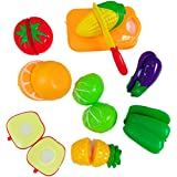 SuperToy(TM) Fruits & Vegetables Realistic Sliceable Fruits And Vegetables Cutting Play Kitchen Set Toy (10 Pcs Set) With Various Fruits,Vegetables,Kinfe And Cutting Board For Kids,Multi Color.