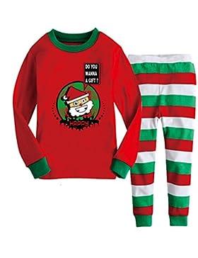 unisex bambini set di pigiama natalizia,Juleya 2 Pieses cotone indossano indumenti da notte indumenti da notte