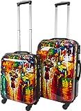 Hartschalen ABS Kofferset 2 tlg Reisekofferset mit Motiv Farbe Colorful Rain