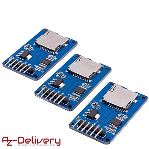 AZDelivery ⭐⭐⭐⭐⭐ 3 x Set SPI Reader Micro Speicher SD TF Karte Memory Card Shield Modul für Arduino mit gratis eBook!
