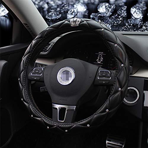 MLL Autozubehör Mit Strass Krone Vier Jahreszeiten Frauen Männer Auto Lenkradabdeckung - Blase Leder Griff,schwarz,36 cm