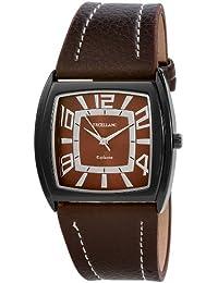 Excellanc 293077000101 - Reloj analógico de caballero de cuarzo con correa de piel marrón