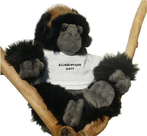 Gorilla Plüschtier mit T-shirt mit Aufschrift Allmächtiger Gott (Schwarzer Affe Gottes)