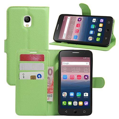 HualuBro Alcatel OneTouch Pop Star Hülle, Premium PU Leder Leather Wallet HandyHülle Tasche Schutzhülle Flip Case Cover für Alcatel One Touch Pop Star 3G 5022D (Grün)