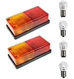 ASCIndustries 2x Oblong Rear Tail Lights - 4 Function - Complete with Bulbs - For Trailer, Trailer Light Board, Caravan, Horse Box Etc