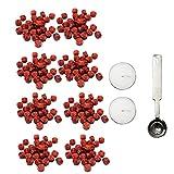 Sigilli di Cera per Buste Migavan,190-200 Pezzi Ottagonale Cera Sigillo Perline con Cucchiaio Candele, per Lettera Timbro Cera Sigillatura (Rosso)