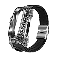 ‏‪Sumeier Fashion Metal Cover Case Leather Band Straps Smart Band Wristbands Bracelet Replacement Accessaries for Xiaomi Mi 4 Watch‬‏