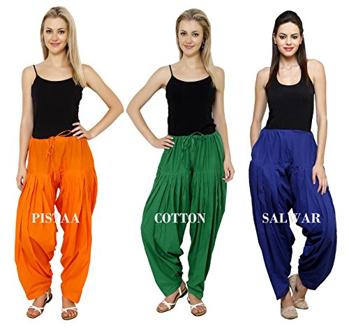 Pistaa's Orange Pak Green Royal Blue Cotton Women's Combo Punjabi Semi Patiala...