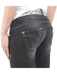 Stylische Damen Jeans von Cipo & Baxx grau mit schwarzgrauen Nähten