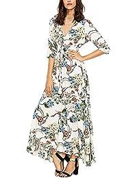 34e50aaddce07 Sommerkleider Damen Elegant Festlich Lang Kleider V-Ausschnitt 3/4 Arm  Blusenkleider Einreihig…