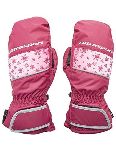 Ultrasport Basic Ski Fäustlinge Starflake, Fausthandschuhe für Kinder mit guter Bewegungsfreiheit, wasserbeständig und winddicht, beere, Größe 10 - 12 J.